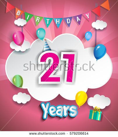 21st Anniversary Celebration Design, with clouds and balloons. using Paper Art Design Style, Vector template elements for your, twenty one years birthday celebration party.