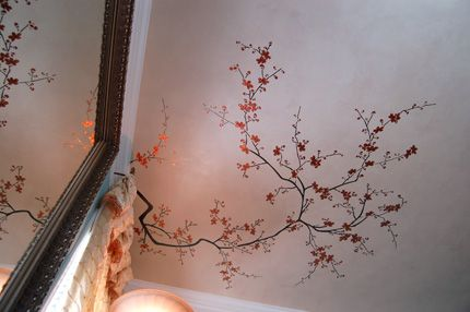 I was thinking it would be cool if we could do a vinyl art/pattern and continue if up the wall onto the ceiling like this.
