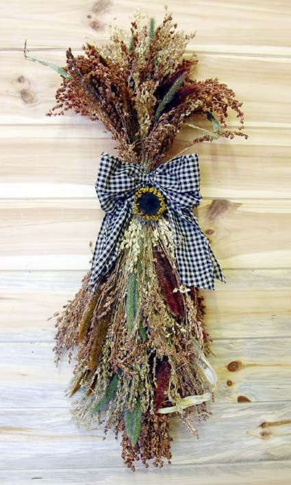 Country Autumn Door Swag made with Broom Corn by theflowerpatch