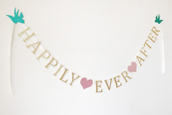 ♥ This elegant Happily Ever After banner is perfect for any bridal shower, wedding, or even birthday party! ♥ I N C L U D E S ♥ • (1) Happily Ever Banner The banner is on ivory ribbon and measures approximately 55 long. Each letter is around 3 tall. WE CAN CUSTOMIZE THE COLORS TO MATCH YOUR THEME! ♥ If bought as is the colors will be gold and white letters, with pink hearts and teal birds as photoed. ♥ Handmade with love. !! Please let me know your event date in the order notes, this i...