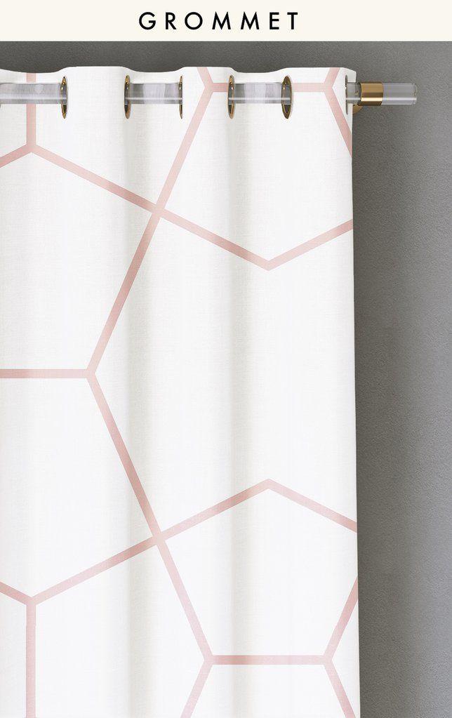 Drapery : Crown Jewel© // Blush + White By Bree Schaap // drop it MODERN© Design House // geometric print drapery // curtains // drapes // window treatments // Hygge style