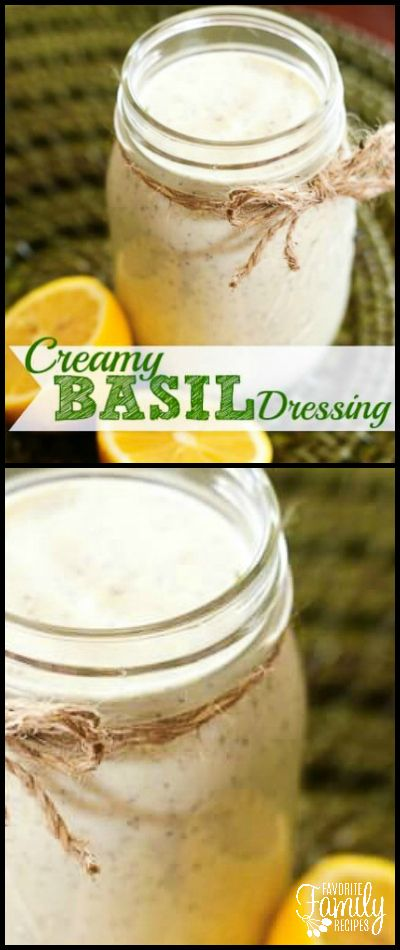 This Creamy Basil Salad Dressing has the most amazing fresh flavor. I have been putting it on everything! Salads, sandwiches, pitas.. you name it! via @favfamilyrecipz