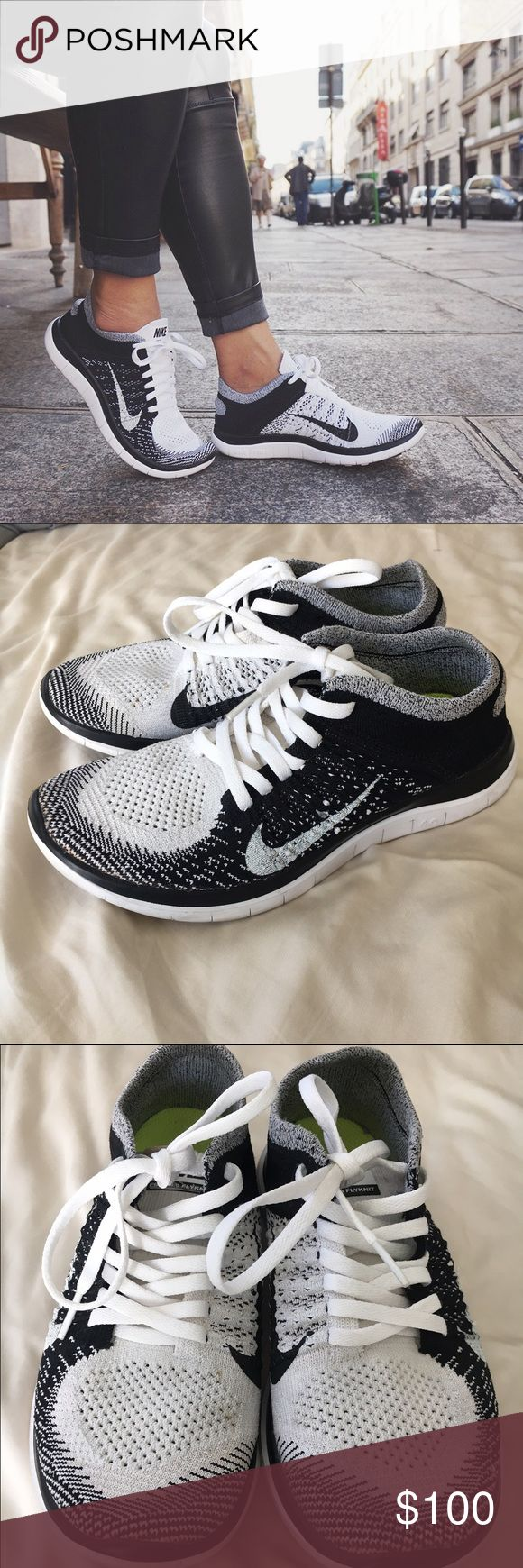 "Nike free 4.0 Oreo Flyknits Women's size 6 Nike feee 4.0 black and white ""Oreo"" flyknit athletic shoes. Great condition. A couple small spots on the front (very small). Only real flaw is the end of one shoe lace is stained a light brown color, but it's not noticeable. And you can easily get new laces. Very sought after style and color! Only selling because I have 2 of them. Can sell less elsewhere Nike Shoes Athletic Shoes"