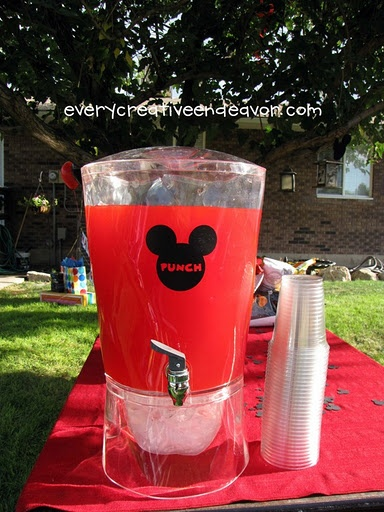 Great Ideas! Just stick a sticker onto the punch bowl...then you have Mickey Mouse Club House PUnch!