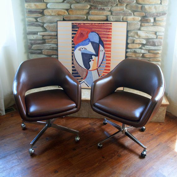 1979 Saarinen for Knoll Executive Arm Chair Iconic MID CENTURY MODERN  Office Chairs Rolling Wheels Swivel X Base Cognac Brown Faux Leather