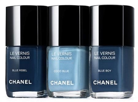 """Chanel Le Vernis """"Jeans"""" nail colors - Blue Rebel, Coco Blue & Blue Boy"""