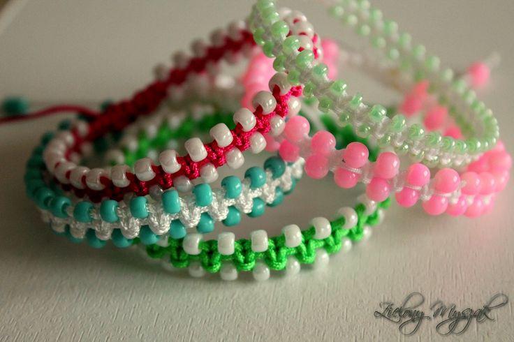 Zielony Myszak: 55. Sznureczki i koraliki #handmade #bracelet #poland #macrame