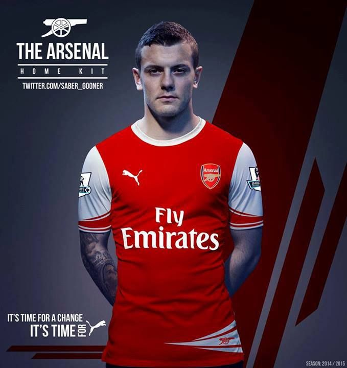 Arsenal Puma kit design...don't worry folks, it's not real...see how it says 2014-15 season in the bottom corner? Oops...