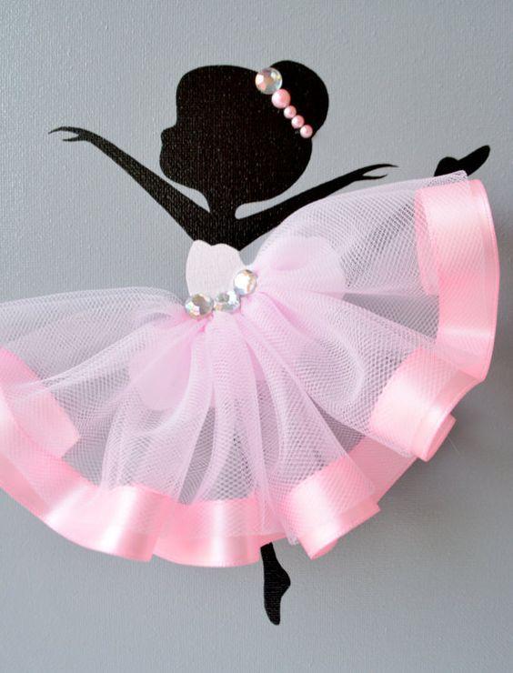 Ballerina nursery wall art. Pink and grey ballerina decor