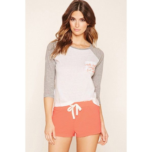 Forever 21 Women's Cute But Crazy Graphic PJ Set ($18) via Polyvore featuring intimates, sleepwear, pajamas, forever 21 sleepwear, baseball tee shirts, long pajamas, forever 21 pajamas and baseball tshirt