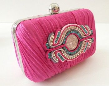 Hot Pink Clutch with Soutache