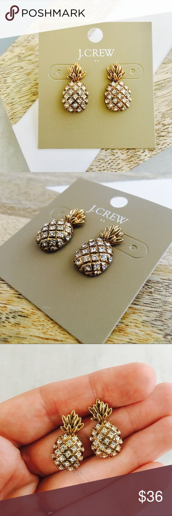 "J. Crew Limited Edition Pineapple Studs GORGEOUS signed, brass, crystal adorned pineapple studs. The detail on these is exquisite as is the quality. Brilliant summer item. 15/16"" x 1/2"" J. Crew Jewelry Earrings"