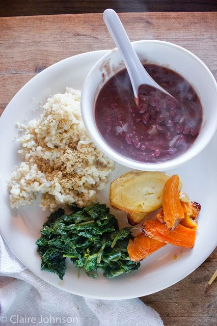 ... Blanched vegetable salad, Baked Parsnips and carrots, adzuki bean soup
