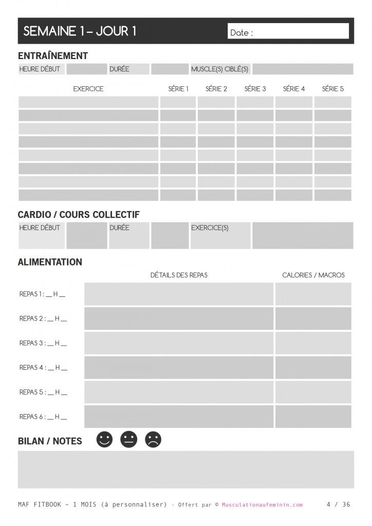 gratuit fitbook vierge imprimer en fran ais musculation au f minin agenda pinterest. Black Bedroom Furniture Sets. Home Design Ideas