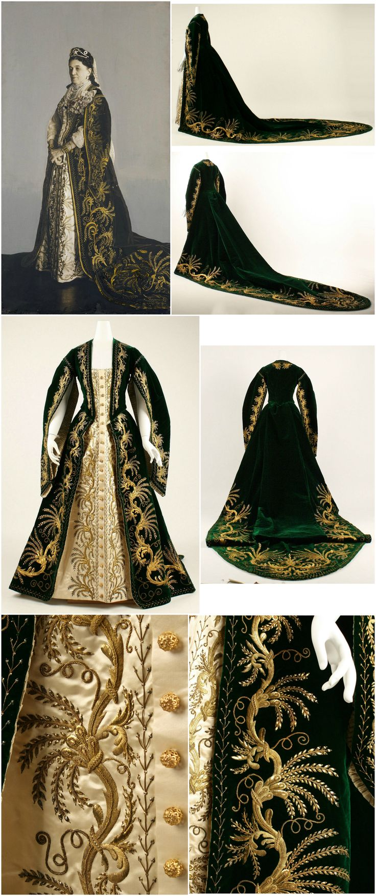 """Court robe, Russian, c. 1900. Silk, metallic threads and paillettes. The Metropolitan Museum of Art. Accompanying photo: """"Portrait of a Lady in a Court Uniform Dress,"""" Russia, 1900s. Silver-bromide print, with gouache, water-color and white lead. State Hermitage Museum. CLICK FOR LARGER IMAGES."""