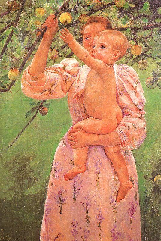 [사과를 잡으려는 아기] Mary Cassatt, 1893, oil on canvas, 버지니아 리치먼드 미술관.  어머니가 아이를 안고 있고, 아기는 나무에 열린 열매를 향해 손을 뻗고 있다. 어머니는 아이가 열매를 만져볼 수 있게 하기 위해 나뭇가지를 잡아서 아이 쪽으로 끌어주고 있는데, 이러한 행동 하나에서도 아이에 대한 사랑이 보여진다.