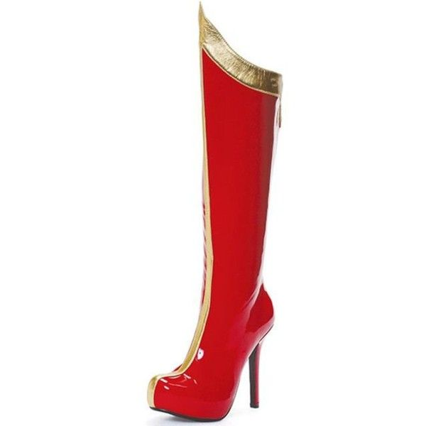 Red & Gold Super Hero High Heeled Boots for Women (£50) ❤ liked on Polyvore featuring costumes, halloween costumes, multicolor, lady costumes, women superhero costumes, colorful costumes, superhero halloween costumes and women super hero costumes