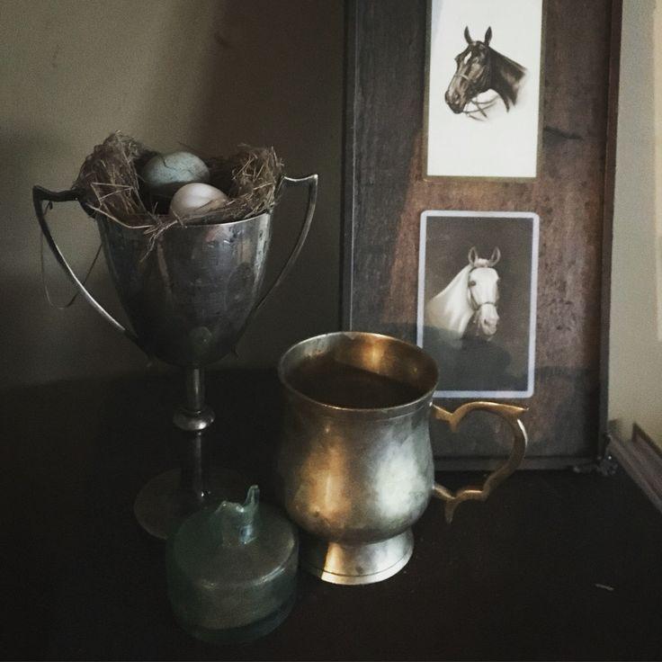 Still life...Abandoned nest:vintage trophy:ink bottle:vintage swap cards