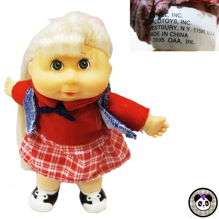 "1995 Mattel Mini Cabbage Patch doll 5"" Xavier Roberts Long Blonde Hair Green Eye #Mattel #DollswithClothingAccessories #doll #cabbagepatch #xavierroberts #90s"