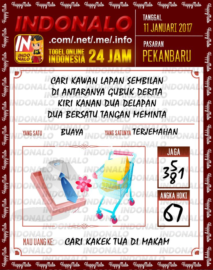Kode Kumat 3D Togel Wap Online Live Draw 4D Indonalo Pekanbaru 11 Januari 2017