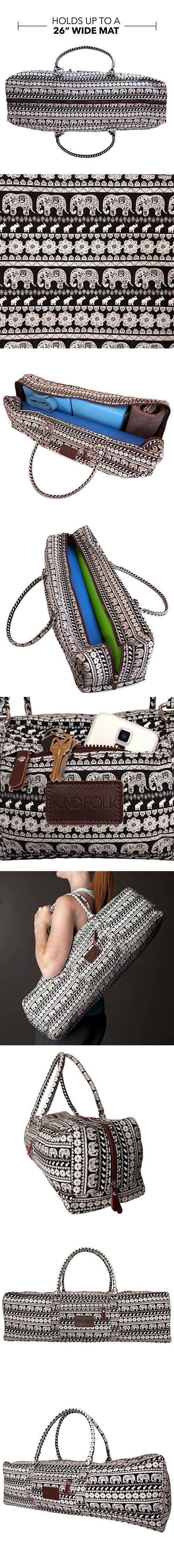 Yoga Mat Duffel Bag Carrier Patterned Canvas with Pocket and Zipper (Parade)
