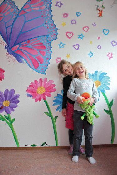 Muurschildering bloemen en vlinder. kinderkamer ‹ Miranda Maakt het Mooi