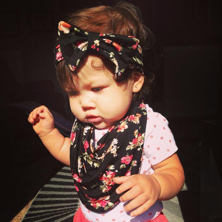 Floral Matching Baby Scarf Bib & Bow Headband  by AvileeBabyCo, $5.99