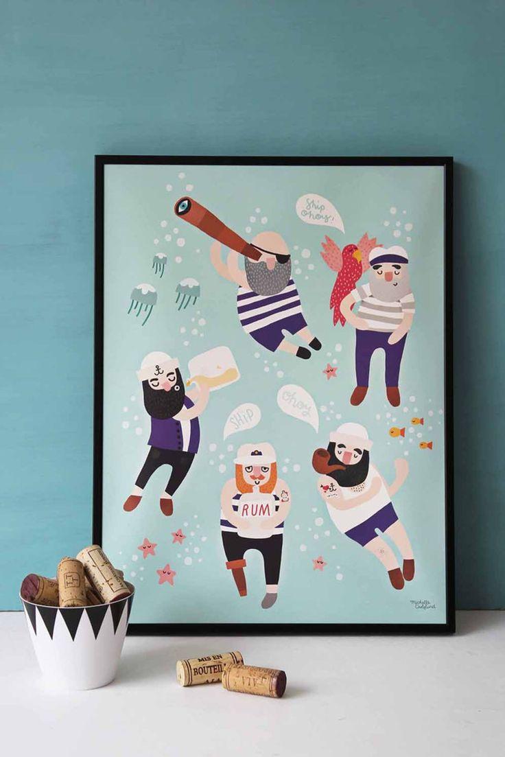 Moderne plakat med glade sømand. Den fine illustration fra Michelle Carlslund vil passe fint ind i både stuen, soveværelset, børneværelset eller kontoret.