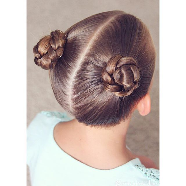 Princess Leia look for big sis...braided buns :). 💚💙