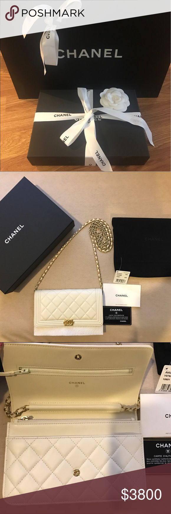 NWTIB-Chanel Boy Ivory&Gold WOC 2016 RARE LIMTD ED Wrapped up in original box and packaging. Will also ship the Chanel shopping bag upon request. This is a super rare colorway of the Classic Boy Wallet on Chain in Lambskin leather. Brand New & Never been carried. Absolutely NO trades but ALWAYS willing to take an offer for a better price on 🅿️🅿️👨‍👩‍👧‍👧 or ✅ or as 2 separate listings on ♏️ CHANEL Bags Crossbody Bags
