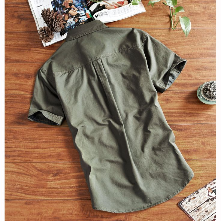 Outdoor Sport Cotton Breathable Multi Pockets Cargo Short Sleeve Dress Shirts for Men