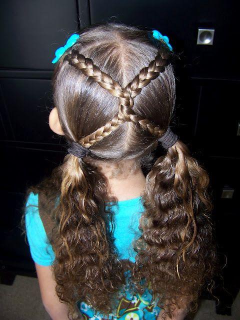 Criss cross braids  Fast, before school hair do.