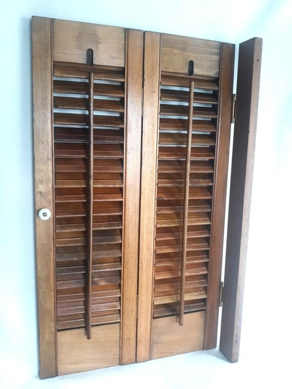 Vintage Wooden Louvered House Window Indoor Shutter 2 Panels