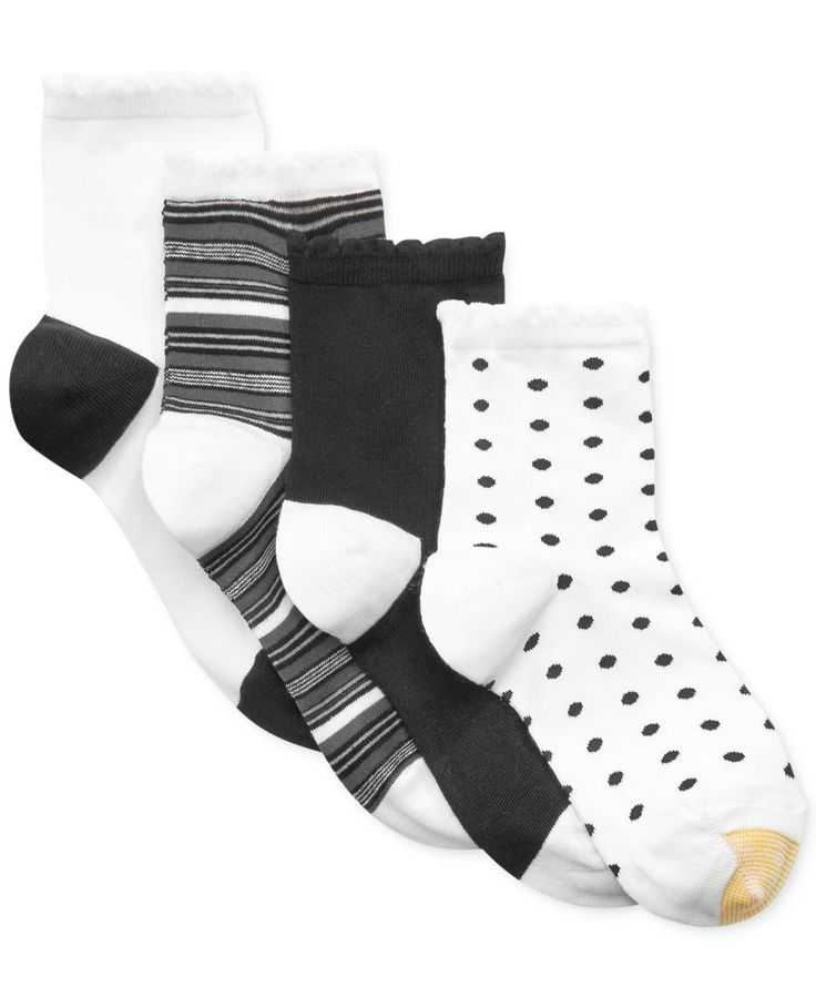 Gold Toe Women's Fashion Picot Short Crew 4 Pack Socks
