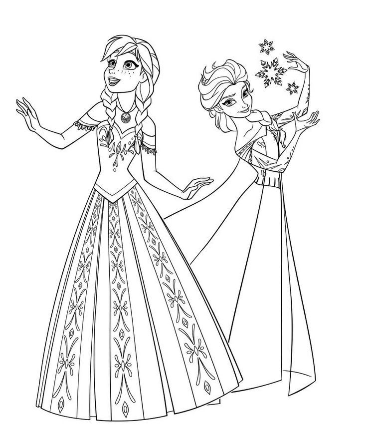 Two Beautiful Princesses Of Arendelle Elsa And Anna Disney Frozen Coloring Page Printing Pages With Extra Free Prints At The End Year