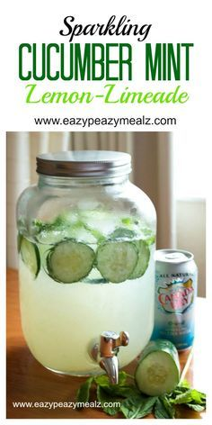 Sparkling Cucumber Mint Lemon-Limeade, this drink is so good! And perfect for an at home spa party. Ridiculously refreshing. #wateronlybetter #ad - Eazy Peazy Mealz