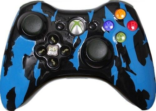 Blue Tiger Custom Xbox 360 Controller with Evil D-Pad - New Xbox 360 Controller