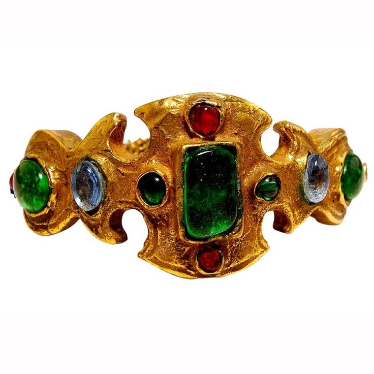 Ultra Rare Chanel Bracelet Haute Couture Poured Glass Goossens Etruscan 1970s  | 1stdibs.com