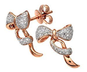 9ct Rose and White Gold Diamond Bow Earrings  http://electmejewellery.com/jewelry/earrings/9ct-rose-and-white-gold-diamond-bow-earrings-couk/
