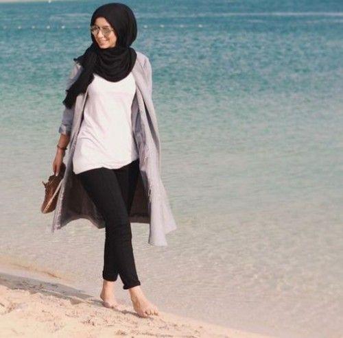 comfy hijab outfit, Hijab spring street fashion…