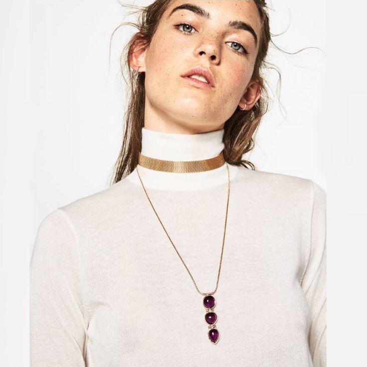 za Big Brand Long Metal Chain Vintage Boho Statement Choker Necklace Gothic Gold Collar Retro Jewelry 3526