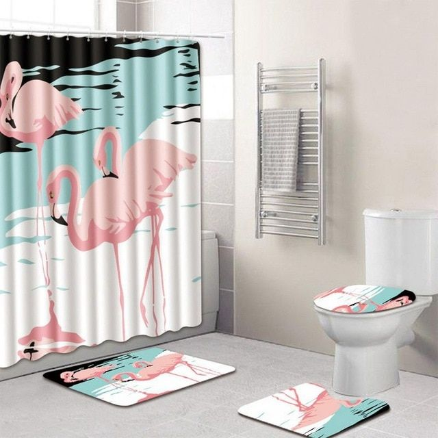 High Quality 4pcs Anti Slip Bathroom Rugs Set Waterproof Pedestal