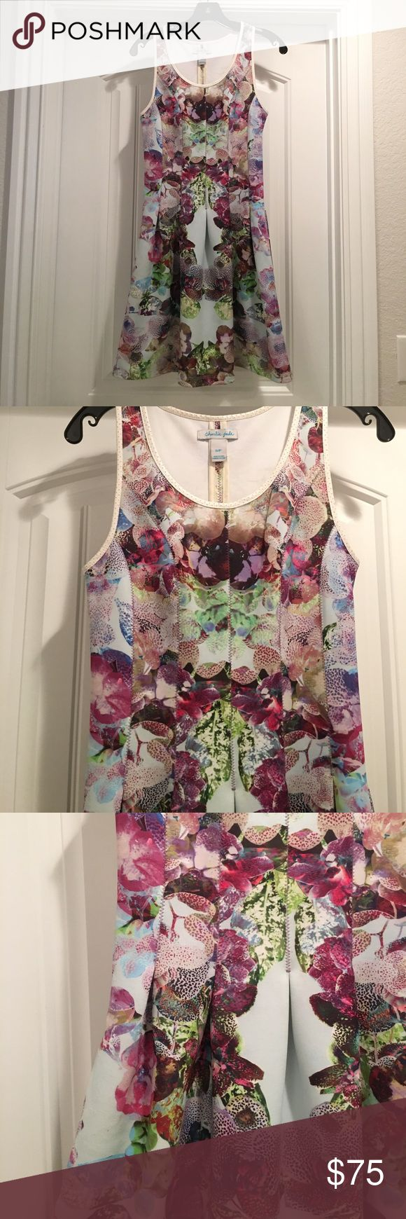 Charlie Jade fit & flare dress Charlie Jade brand. Floral print. Neoprene like material. Pockets! charlie jade Dresses Mini