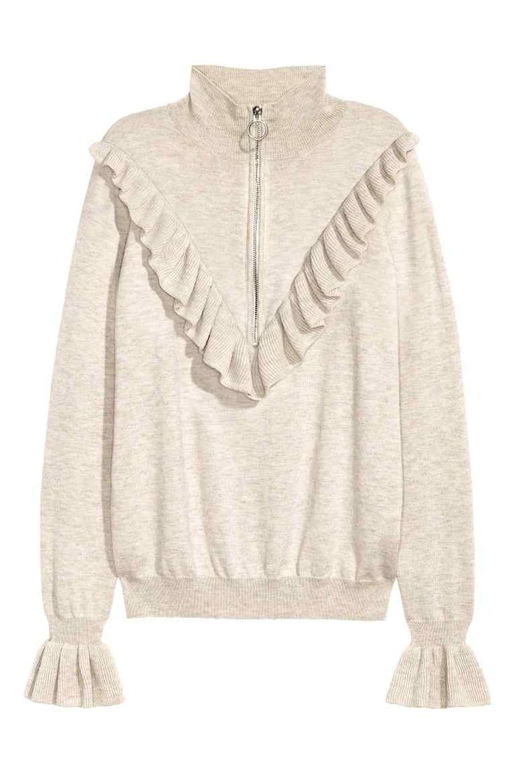 Fine-knit jumper with a frill: CONSCIOUS. Jumper in a soft, fine knit containing…