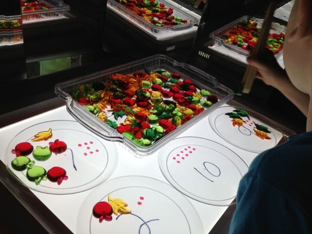 math and fine motor on the light table