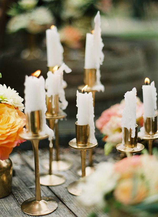 Vintage Gold Candlesticks with Taper Candles | Peaches & Mint Photography | A Blooming Spring Wedding full of Lush Flowers in Peach and Fresh Green - http://heyweddinglady.com/blooming-spring-wedding-full-of-lush-flowers/