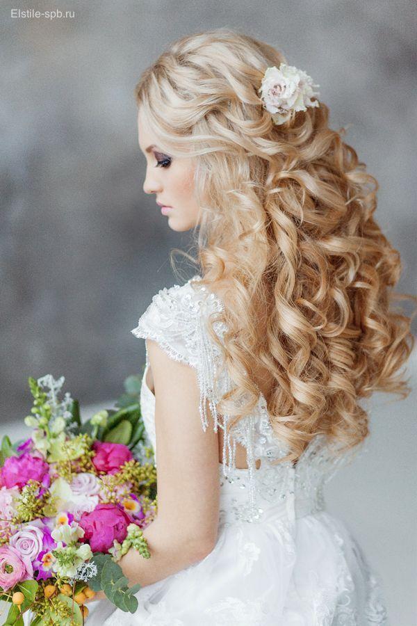 Wedding Hairstyles: Gallery: half up half down long wavy wedding hairstyle with flowers Deer Pearl  - Hairstyle Wavy Wedding - #Deer #Flowers #Gallery...