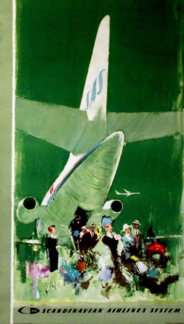 Vintage advertising poster for Scandinavian Airlines System. Artist: Otto Nielsen (1959)