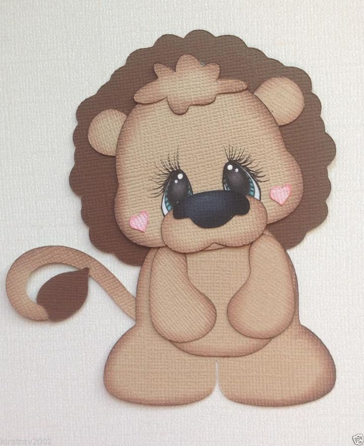 Made to order baby zoo animal lion paper piecing by my tear bears kira