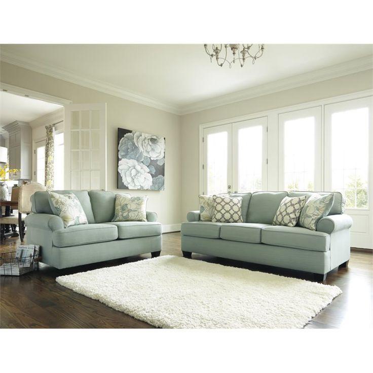 Lowest price online on all Ashley Daystar 2 Piece Fabric Sofa Set in Seafoam - 28200-38-35-PKG